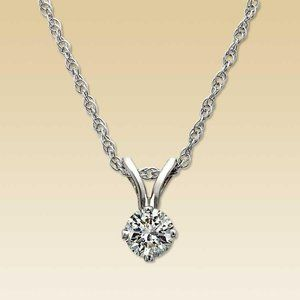 Round cut diamond solitaire necklace pendant white